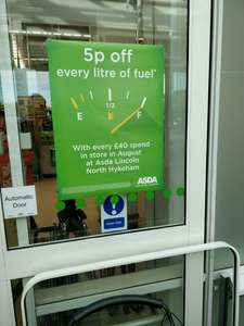 ASDA LINCOLN ONLY - 5p off a litre  fuel with a £40 spend.