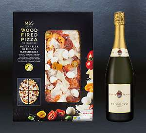 M&S 3 Woodfired Pizzas & 3 bottles of Prosecco for £24, £8 each.