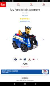 Paw patrol vehicle with figure reduced to £5.99 in Argos