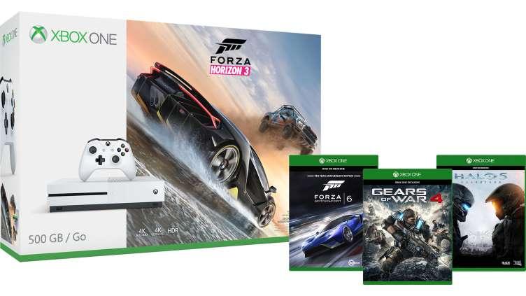 Xbox One S 500GB - Forza Horizon 3 Bundle + Gears of War 4 + Forza Motorsport 6 + Halo 5: Guardians £229.99 @ Microsoft Store