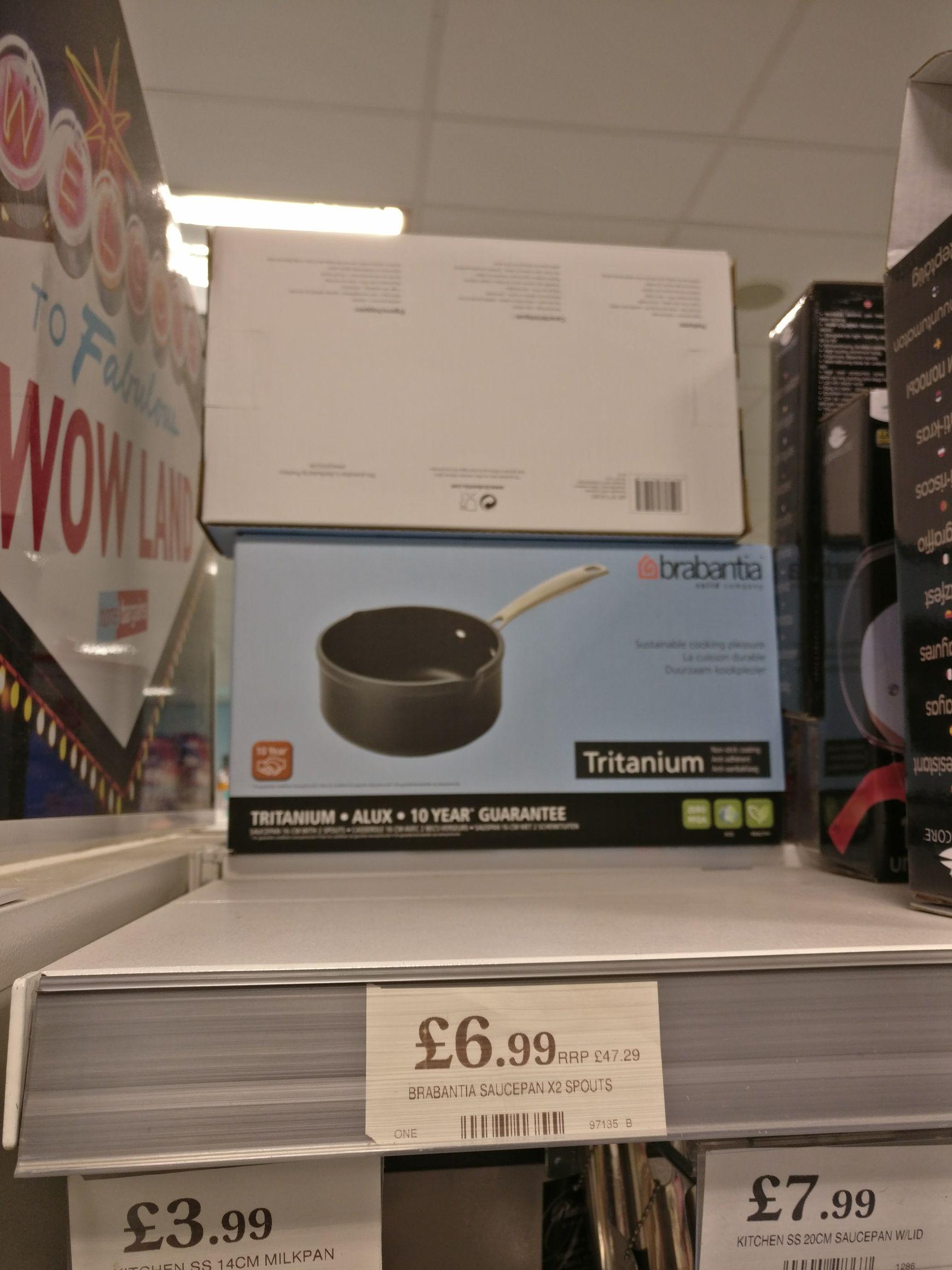 Home Bargains £6.99 Brabintia tritanium 2 spout sauce pan 16cm