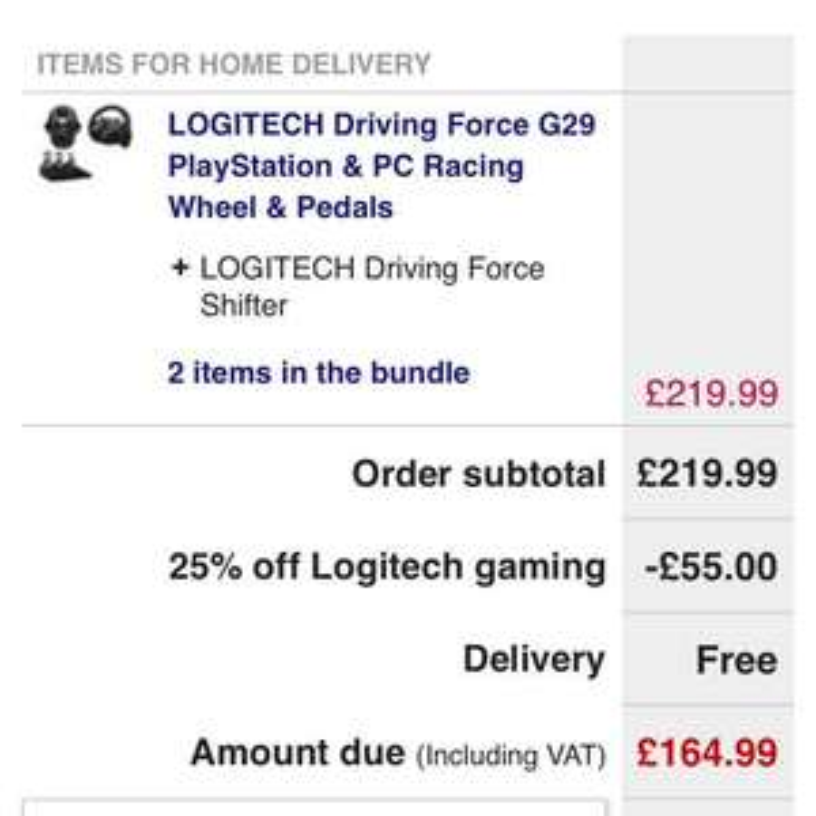 G29 Logitech wheel + Gearstick 164.99 w/ discount code. Currys
