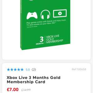 Xbox Live 3 Months Gold £7 @ Smyths