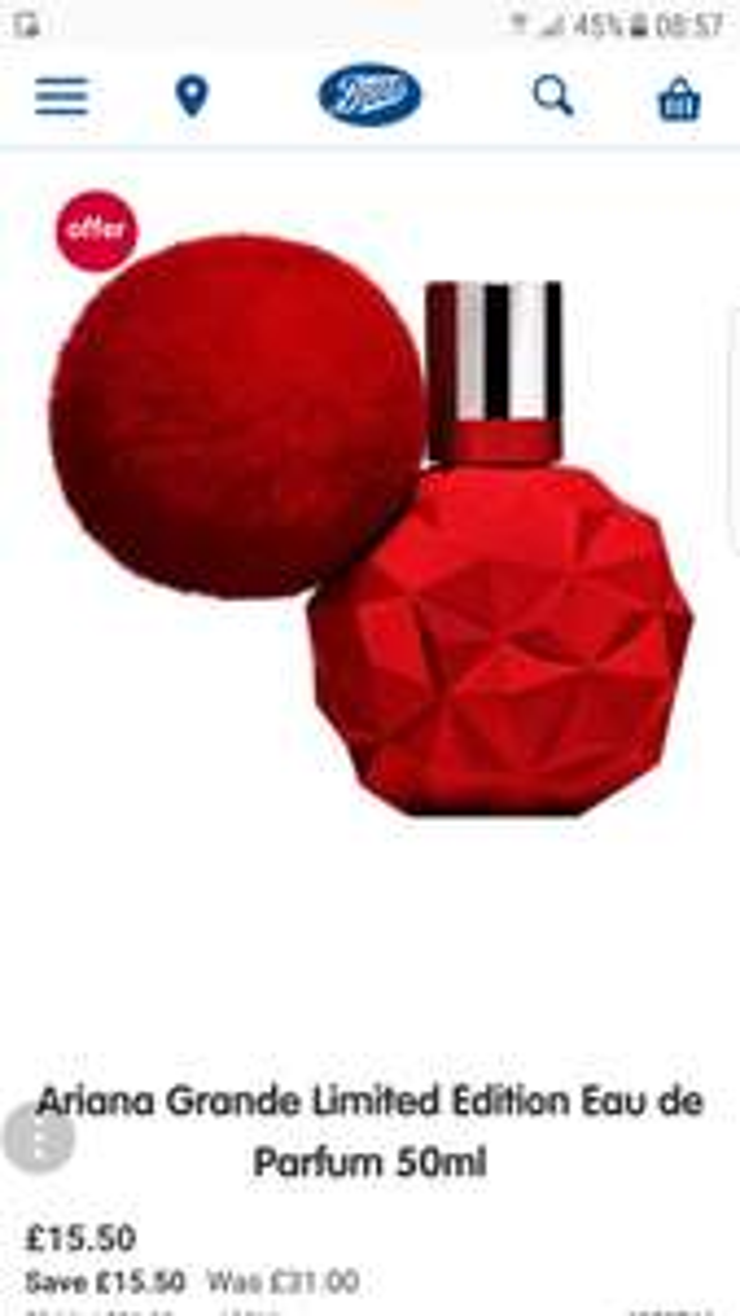 Ariana Grande Limited Edition Eau de Parfum 50ml £15.50 @ Boots
