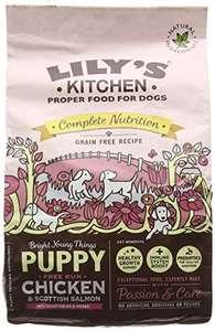 Lily's Kitchen Puppy Chicken & Salmon Complete Dry Food for Dogs 1kg  £3.60 prime / £8.45 non prime - Amazon