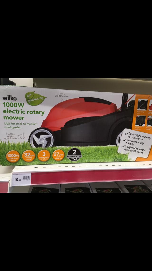 Wilko 1000w electric rotary lawn mower £10.00 Wilko Tamworth