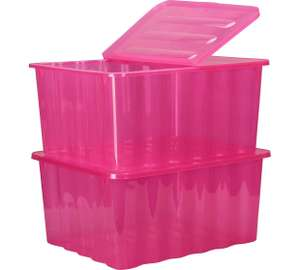 HOME 48 Litre Pink Plastic Storage Boxes - Set of 2 £12.99 @ Argos