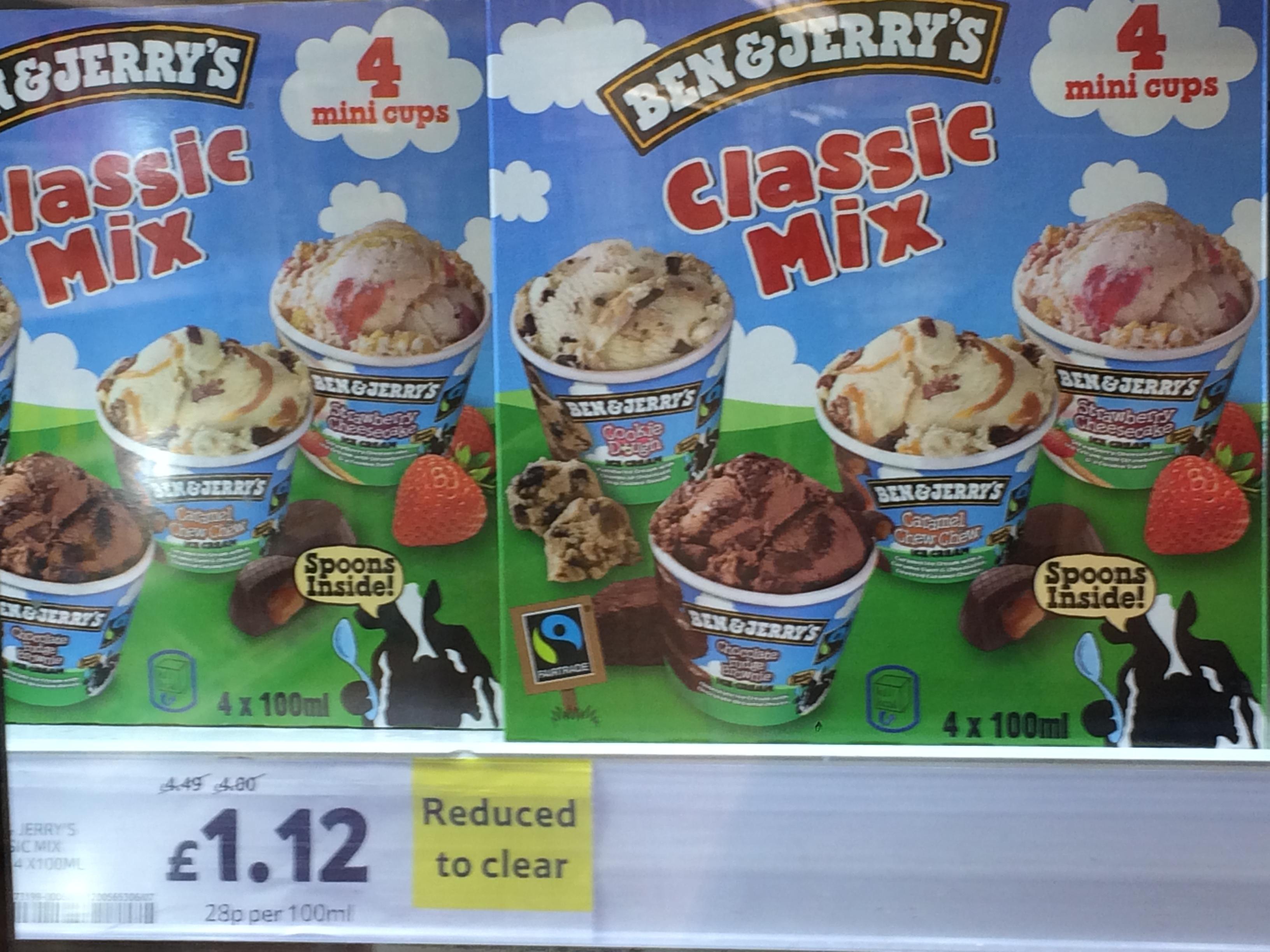 Ben & Jerry's Classic Mix 4 Mini Cups £1.12 @ Tesco Metro store Kirkcudbright