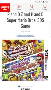 P and D Z and P and D Super Mario Bros. 3DS Game £7.99 @ Argos