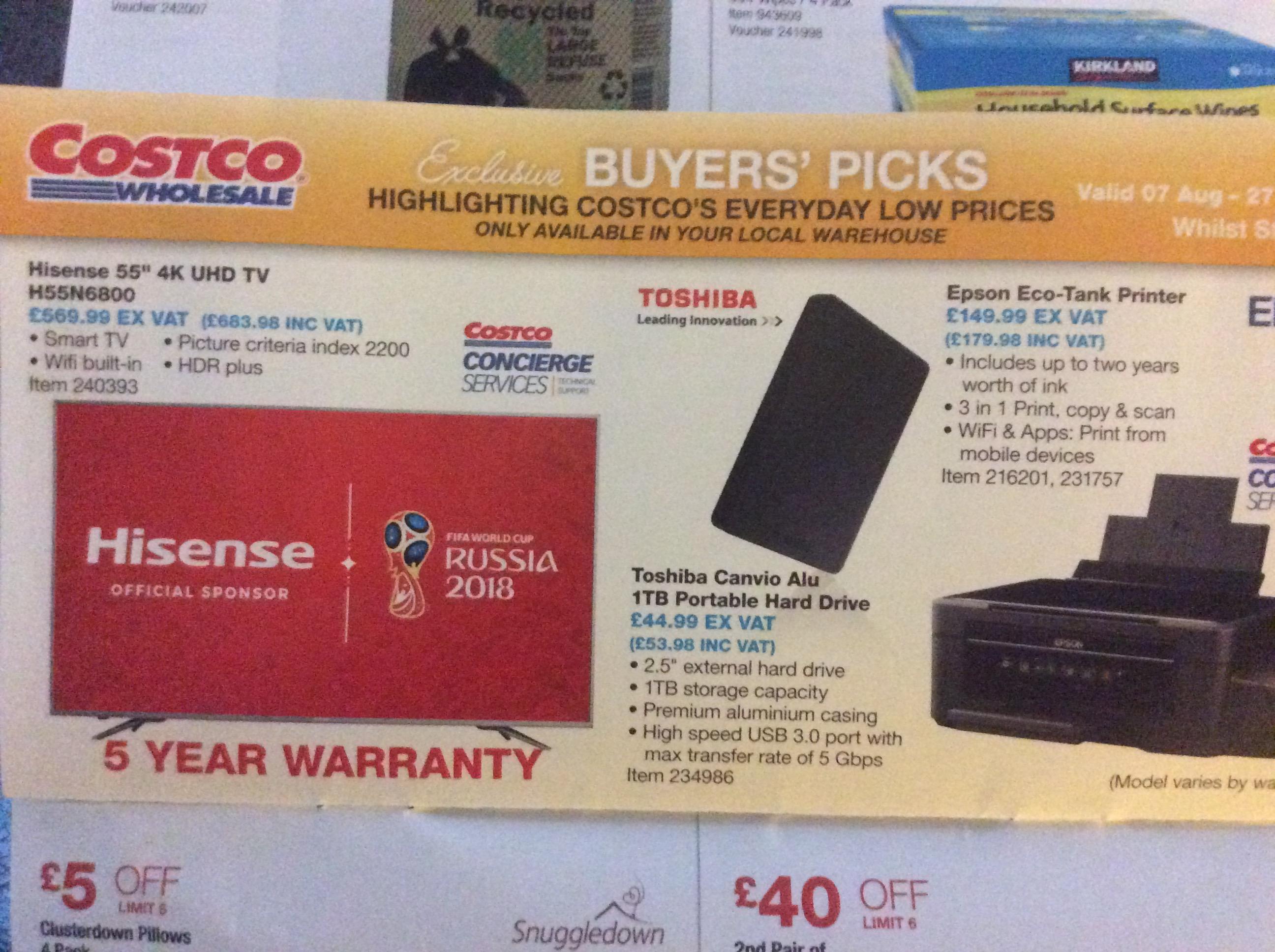 Hisense 55 inch 4K UHD - £683.98 instore @ Costco