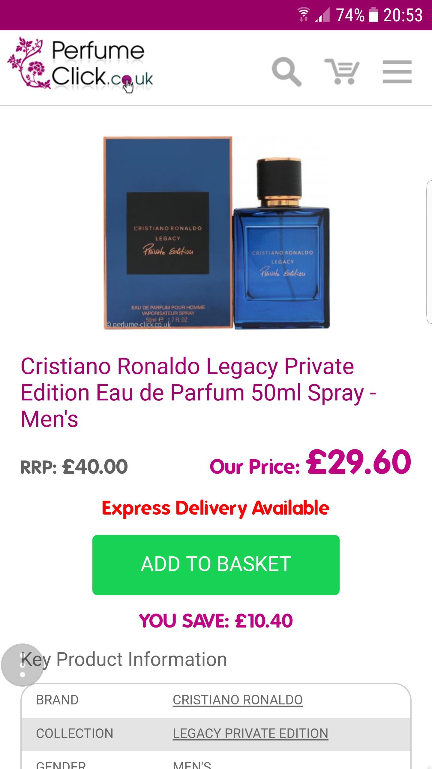Cristiano Ronaldo Legacy Private Edition Eau de Parfum 50ml Spray - Men's - £29.60 @ Perfume Click