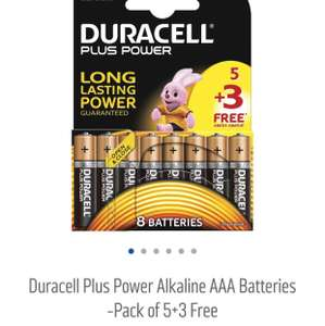 Duracell Plus Power Alkaline AAA Batteries -Pack of 5+3 Free @ Argos - £1.99