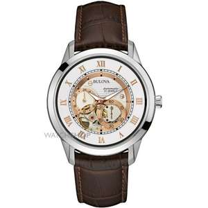 Bulova Men's Silver Dial Brown Leather Strap Watch @ H. Samuel for £164