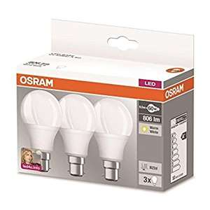 OSRAM LED BASE CLASSIC A / LED lamp, classic bulb shape, 9.50 W, 220…240 V, 60 W replacement, frosted, 2700 K, 3pack [Energy Class A+], bayonet base (B22d) or screw base (E27) £5.99 prime / £9.98 non prime @ Amazon