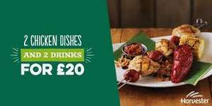 Food Offers at Harvester - 2 Chicken Dishes & Drinks for £20 /  20% Off with your Odeon Ticket / Kids Eat for £1 and more