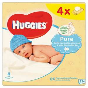 Huggies Pure Baby Wipe Quad 56 per pack was £3.44 now £2 @ Morrisons