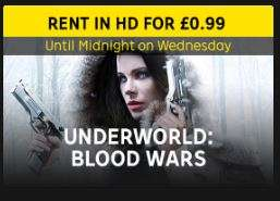 99p Underworld: Blood Wars Digital HD Rental at Rakuten TV