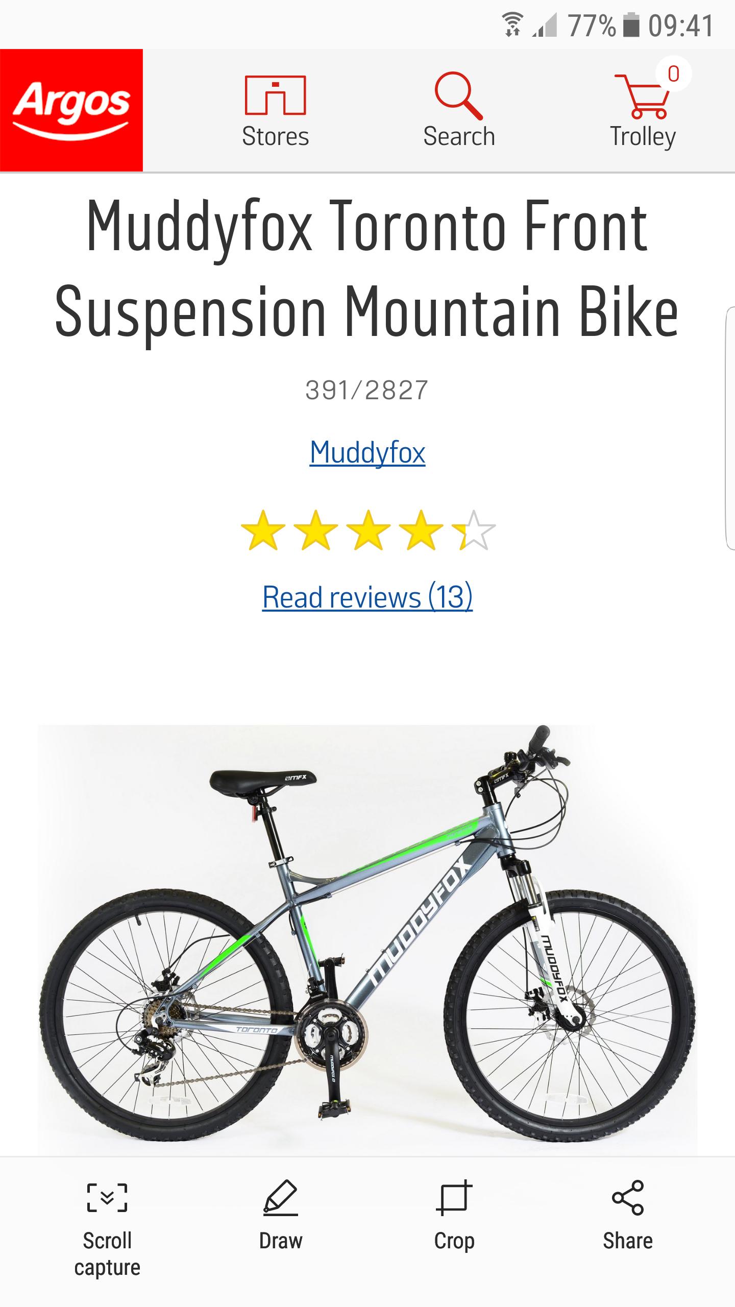 Muddyfox Toronto Front Suspension Mountain Bike - £263.99 @ Argos