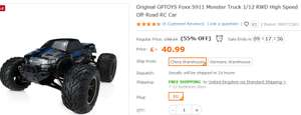 55% OFF - Original GPTOYS Foxx S911 Monster Truck 1/12 RWD 35MPH £40.99 @ Tomtop