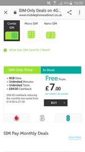 8gb data, unlimited texts and mins £14 p/m 12 months £168 (£7 after cash back) Mobile phones direct on 3 network