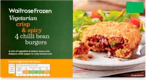 Waitrose Frozen 4 Vegetarian Chilli Bean Burgers (380g) was £2.00 now 2 Packs for £3.00 (So 37.5p a Burger) @ Waitrose