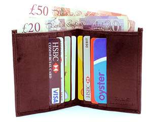 Genuine leather brown slim wallet RFID SAFE. Card and cash £1.99 Sold by WALLETS KING and Fulfilled by Amazon - add on item