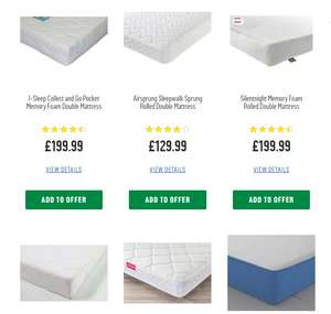 Argos 15% off mattresses when bought with bedframe & additional 20% off £150 spend code FURN20