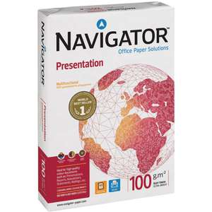 Navigator Presentation A4 100 gsm Multipurpose Paper for Laser and Inkjet White 5000 sheets (10x reams 500 sheets each) £36 @ Staples