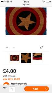 Free C&C MARVEL RED, BLUE & NATURAL CAPTAIN AMERICA COIR DOOR MAT (L)400MM (W)600MM at B&Q for £4