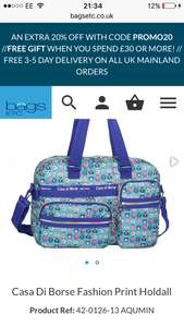 Casa Di Borse Fashion Print Holdall Extra 20% off with promo code free delivery plus free gift if you spend £30 or more at Bags Etc - £12.99