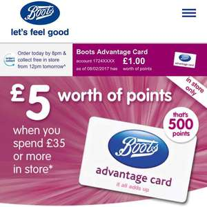 £5 of Boots points with a £35 spend with an initial £4 spend.