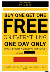 BOGOF at Bags Etc today only with code WEDBOGOF and free delivery