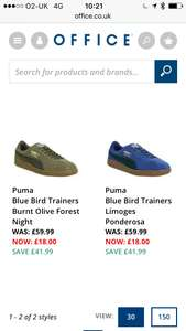 Puma bluebird trainers (2 colours) £18 at office.co.uk (office shoes) free click n collect or £3.50 + 3% quidco