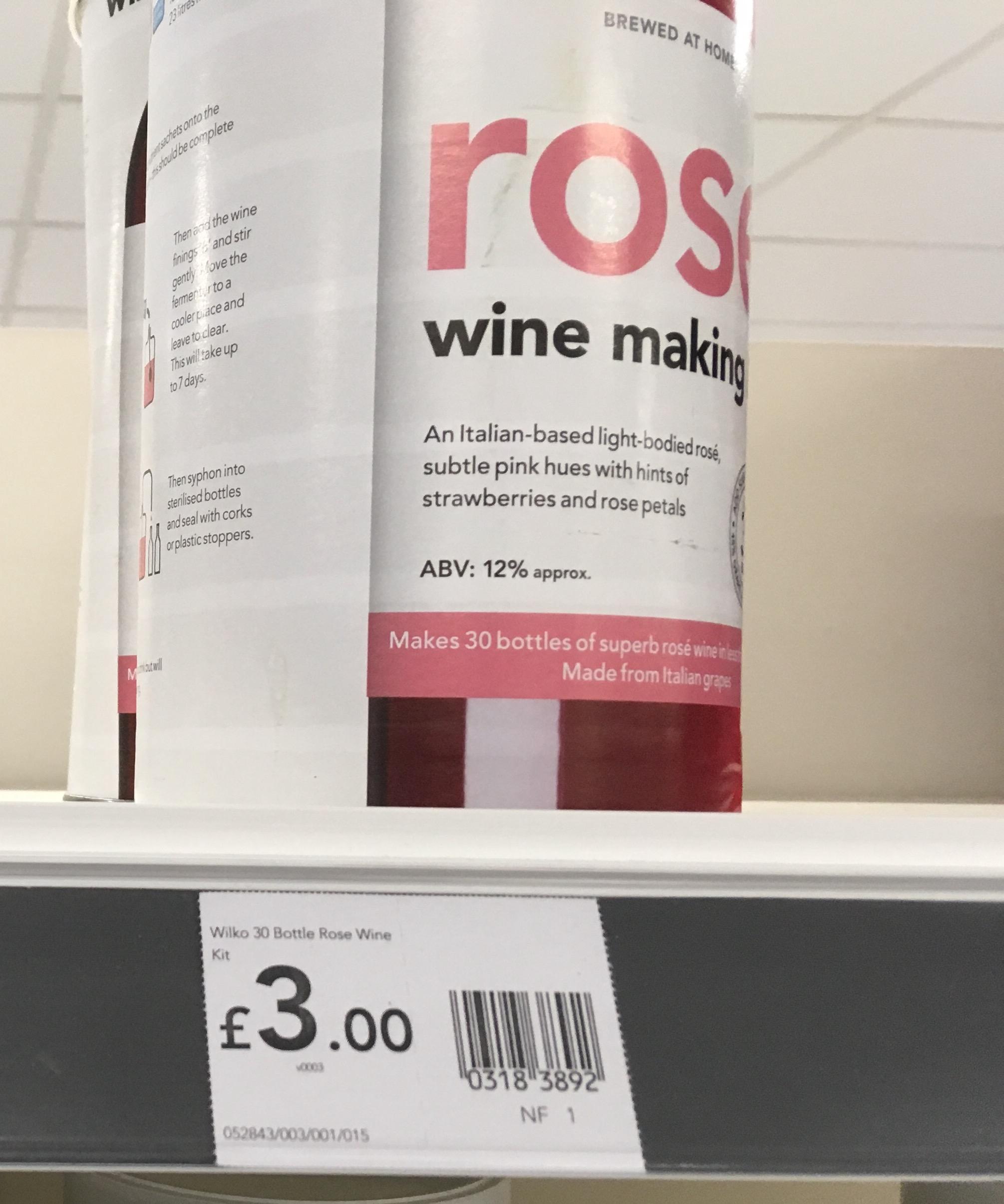 Wilko Rose Wine Making Kit (Makes 30 Bottles) £3 instore @ Wilko (Norwich)