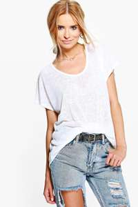 Boohoo Womens Sara Slub Oversized T-Shirt (S/M - M/L) Only £6.00 + £2.00 Postage @ Boohoo on Ebay