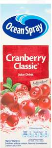 Ocean Spray Cranberry Classic or Light Juice Drink (1L) was £1.35 now 67p @ Tesco