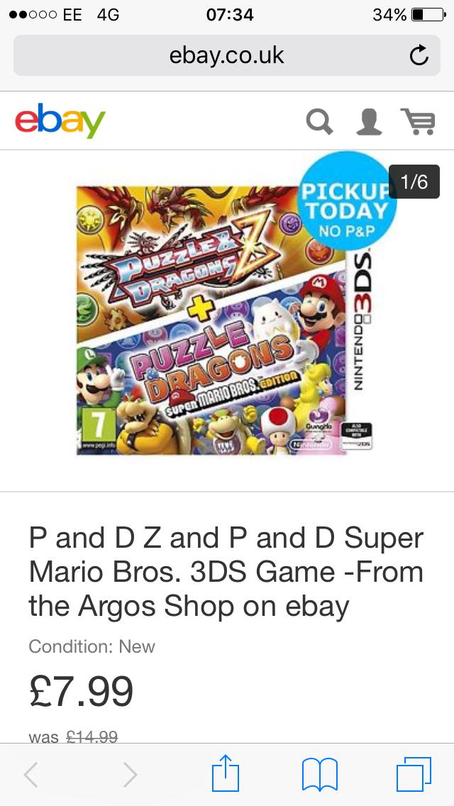 P and D Z and P and D Super Mario Bros. 3DS Game £7.99 - From the Argos Shop on ebay - Free c&c