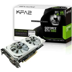 "Now out stock from 10+ KFA2 GEFORCE GTX 1060 EX OC ""WHITE EDITION"" 6144MB £239 or £249 with delivery @ OCUK"