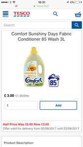 Comfort 85 Wash Tesco Instore and Online - £3