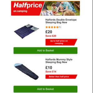 Half price sleeping bags plus extra 20% off @ Halfords