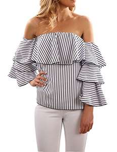 Lightning Deal - Blooming Jelly Ruffle Off Shoulder Vertical Stripe now £6.99 delivered Sold by Booming Jelly and Fulfilled by Amazon