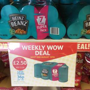 7 x tins of Heinz beans (415g) for £2.50 at poundstretcher