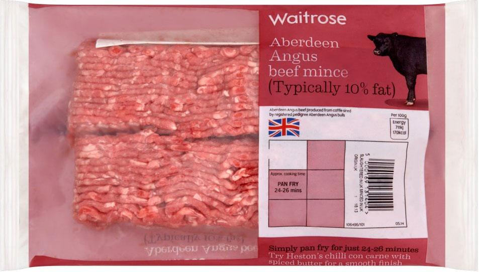 Aberdeen Angus mince beef, 10% fat (400g) was £4.30 now £2.86 @ Waitrose
