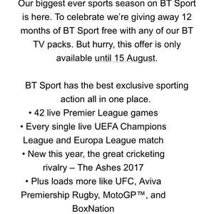 BT sport free for 12 months when taking out package