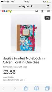 Joules Printed Notebook in Silver Floral in One Size £3.56 - Joules eBay