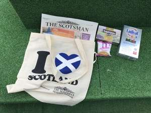 Buy a copy of The Scotsman and get a £20 200ml Ladival sun cream, box of Yorkshire gold, pack of biscuits and an I Love Scotland bag all for £1.60.