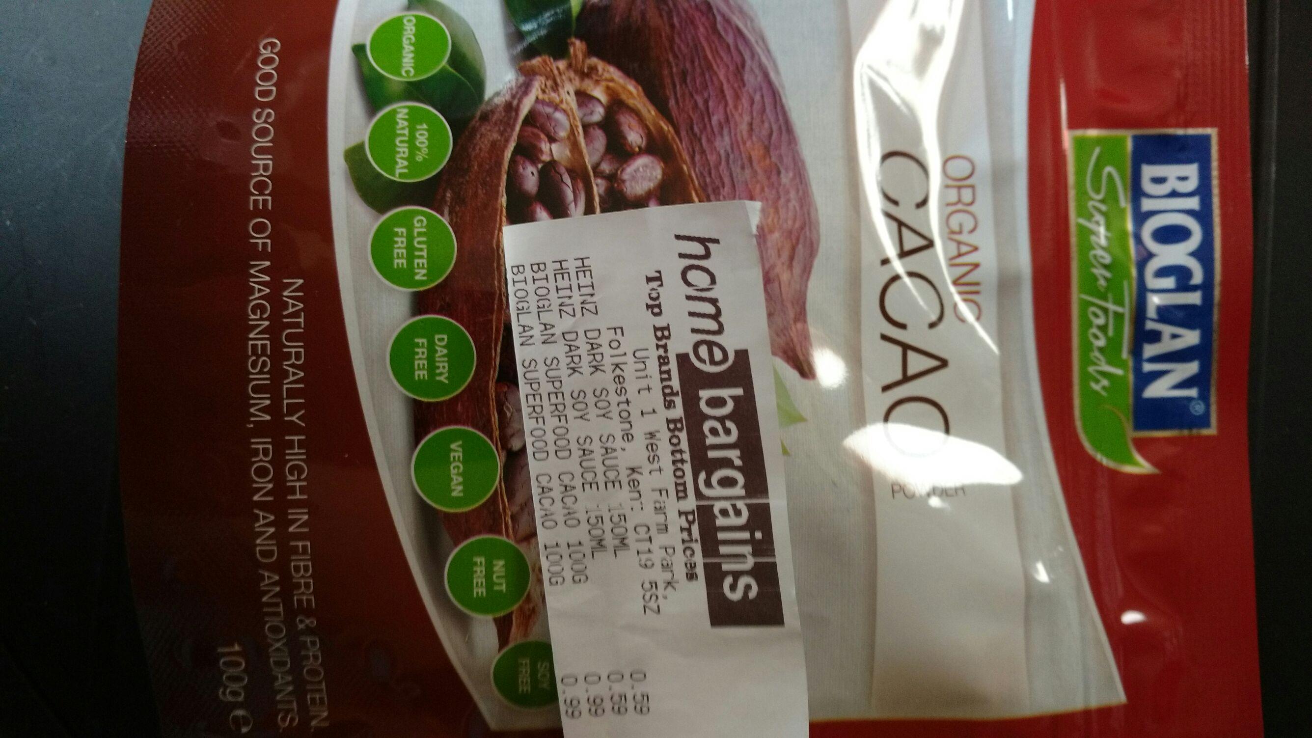 Bioglan Organic Cacao (100g) for 99p @ Home Bargains Folkestone