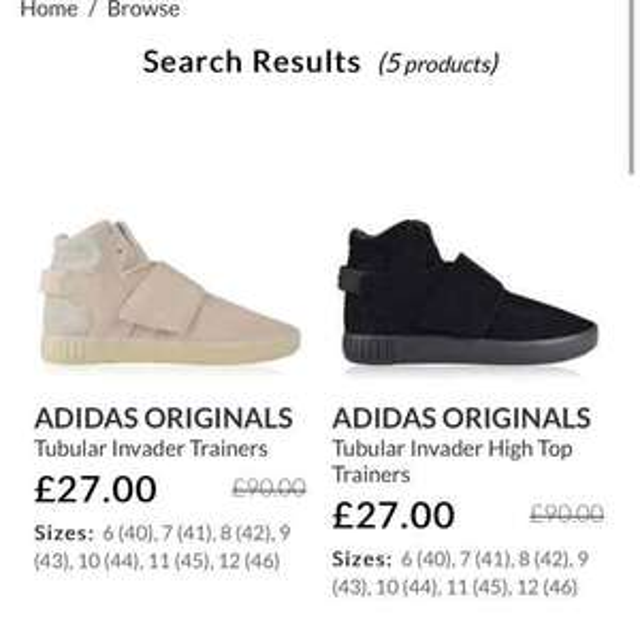adidas Originals tubular invader hi Tops £27 + postage and van mildert (+ quidco) RRP £90