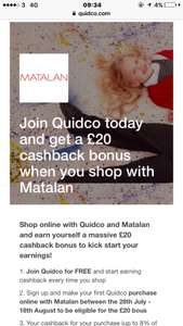 £20 welcome bonus when you join quidco (new customers only) and shop at matalan (£5 minimum spend - including delivery)