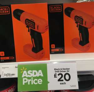 BLACK+DECKER BDCD8-GB 7.2 V Lithium-Ion Compact Cordless Drill £20 @ ASDA Birchwood